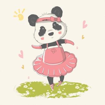 Mão ilustrações desenhadas de um panda bebê fofo com bailarina personalizada.