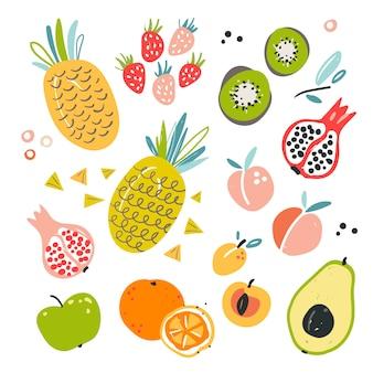 Mão ilustrações desenhadas de vários ingredientes de frutas.