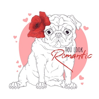 Mão ilustrações desenhadas do cão pug com flores