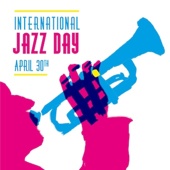 Mão ilustrações desenhadas do dia internacional do jazz com músico
