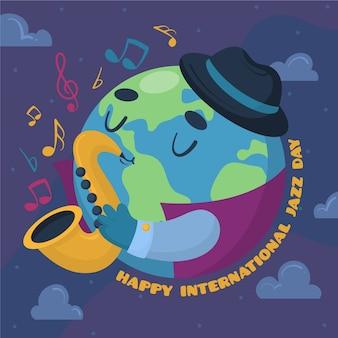 Mão ilustrações desenhadas do dia internacional do jazz