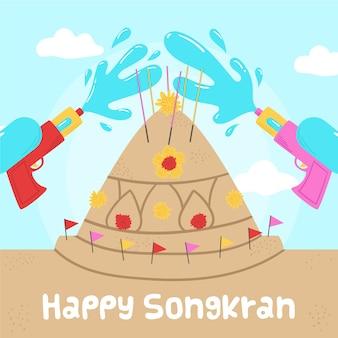 Mão ilustrações desenhadas do evento songkran