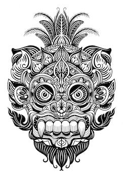 Mão ilustrações desenhadas elemento ornamental. máscara de diabo de tatuagem, vetor de máscara tribal de guerreiro