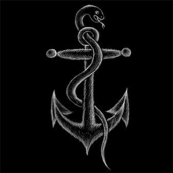 Mão ilustrações desenhadas no estilo de giz de cobra ancorada