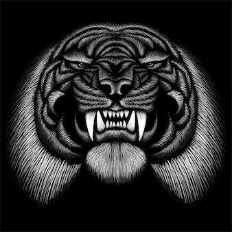 Mão ilustrações desenhadas no estilo de giz de tigre