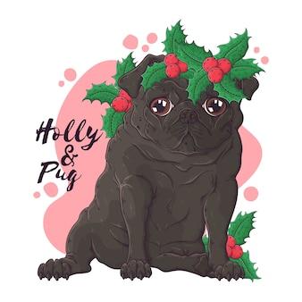 Mão ilustrações desenhadas. retrato de cão pug fofo em acessórios de natal.