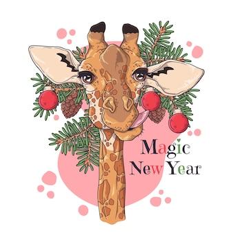 Mão ilustrações desenhadas. retrato de girafa bonitinha com árvore de natal.