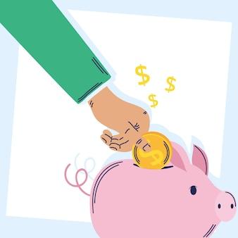 Mão incert moeda no porquinho