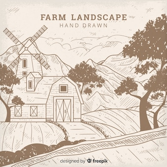 Mão incolor desenhado fundo de paisagem de fazenda