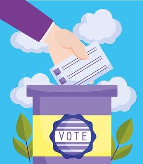 Mão inserindo o boletim de voto
