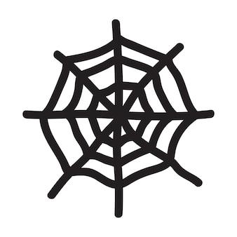 Mão isolada desenhada ilustração vetorial de teia de aranha no estilo doodle. elemento de halloween para o projeto do festival, convite, cartão de felicitações, cartaz.
