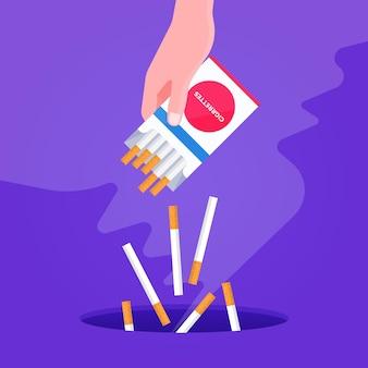 Mão jogando cigarros fora