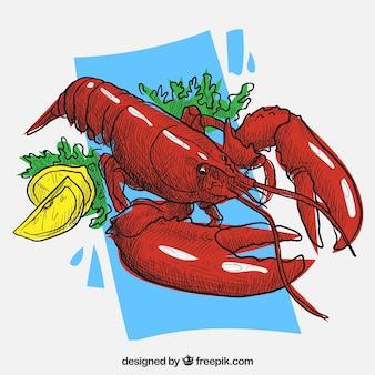 Mão lagosta desenhada