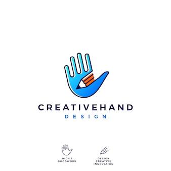 Mão, lápis, logotipo, vetorial, ícone, ilustração