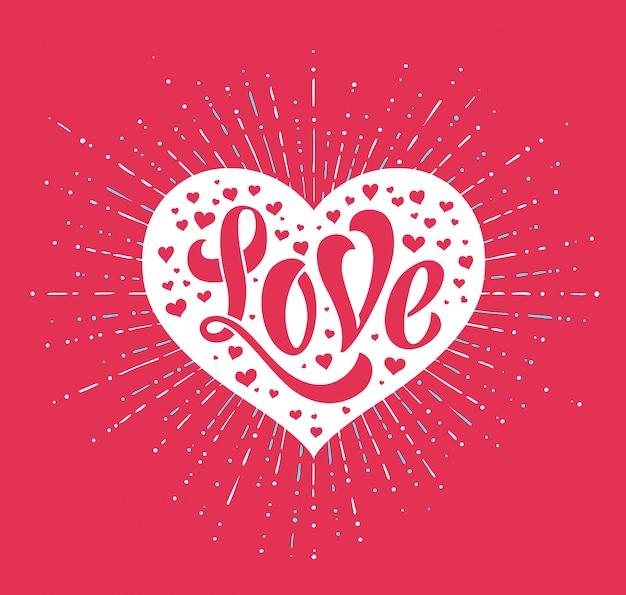 Mão lettering amor no cartão coração branco. caligrafia artesanal. ilustração vetorial