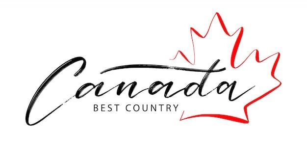 Mão lettering canadá, melhor país, logotipo com uma folha de plátano