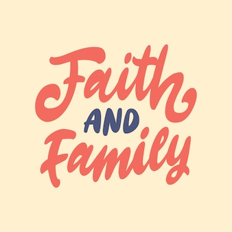 Mão lettering citação de motivação para a família