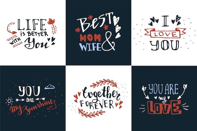 Mão lettering citações de amor