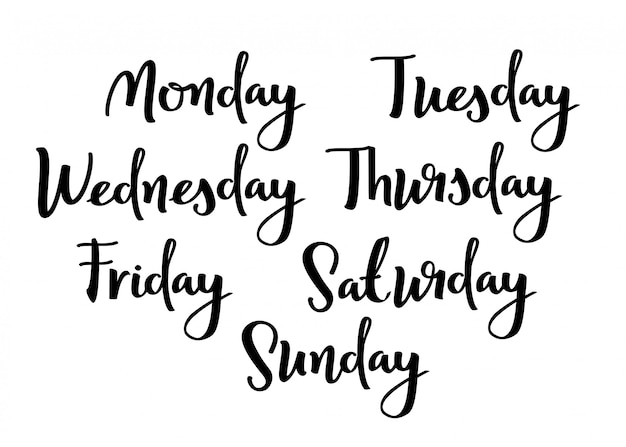 Mão lettering dias da semana.