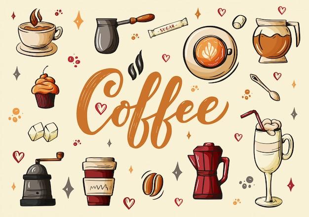 Mão lettering ellements no estilo de desenho para café ou café