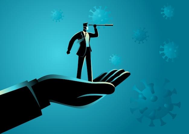 Mão levantando um empresário com um histórico relacionado a vírus