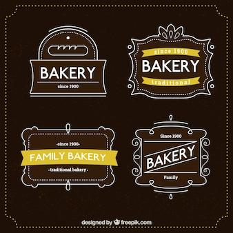 Mão linha traçada logos padaria pacote