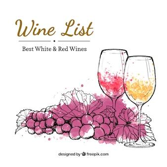 Mão lista de vinhos desenhada