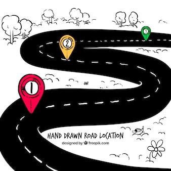 Mão localização estrada desenhada