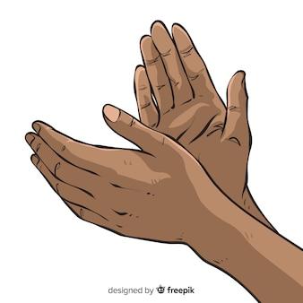 Mão, mãos desenhadas, aplaudindo