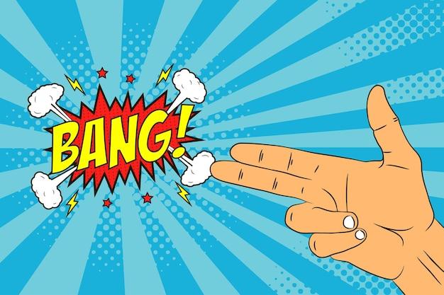 Mão masculina com dois dedos gesto de arma ou pistola e balão de fala bang ilustração em quadrinhos no pop