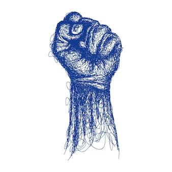 Mão masculina de punho linha arte ilustração vetorial