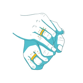 Mão masculina e feminina com anéis