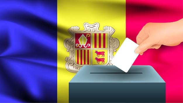 Mão masculina lançando uma cédula de voto