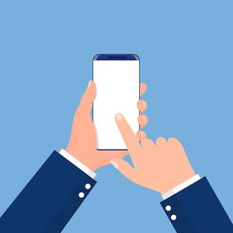 Mão masculina segurando o telefone