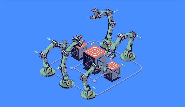 Mão mecânica. manipulador de robô industrial. tecnologia industrial moderna. visualização de tecnologia. ilustração isométrica.