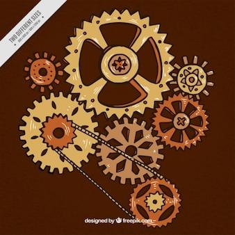 Mão mecanismo steampunk desenhada
