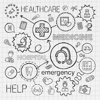 Mão médica desenhar conjunto de ícones integrados. desenho infográfico ilustração com linha conectada doodle pictogramas de hachura no papel. cuidados de saúde, médico, medicina, ciência, emergência, conceitos de farmácia