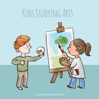 Mão menino ator desenhada e pintor menina