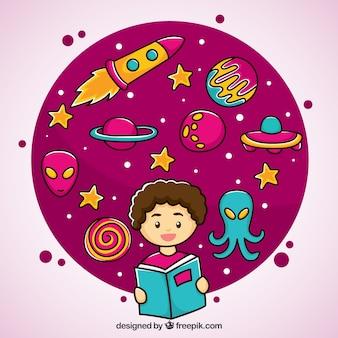 Mão menino desenhado com um livro espaço