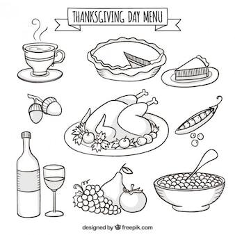 Mão menu de thanksgiving day desenhada