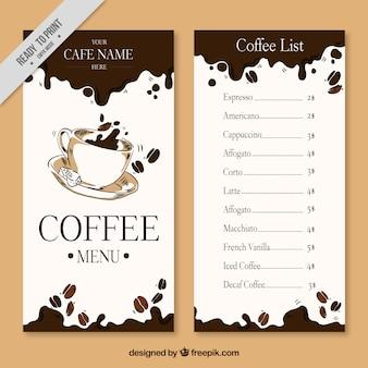 Mão menu do café desenhada