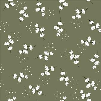 Mão mínima escova de pintura branca floral sem costura repetir padrão com flores pequenas