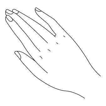 Mão minimalista de personagem feminina, palma isolada de arte em linha com dedos e unhas