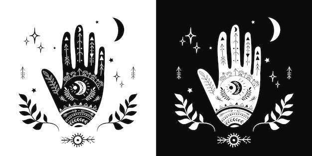 Mão mística com elementos esotéricos símbolos boho design moderno