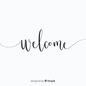 Mão moderna desenhada composição de boas-vindas