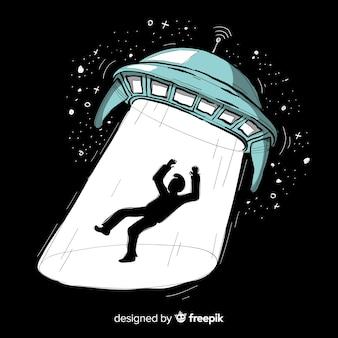 Mão moderna desenhada conceito de abdução ufo