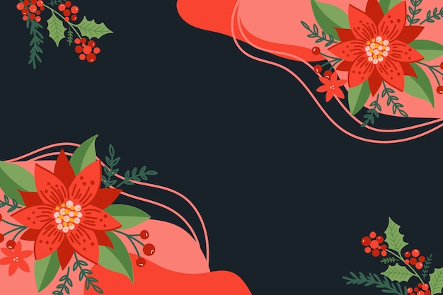 Mão moderna desenhada fundo de natal com elementos florais de poinsétia verdes e vermelhos.