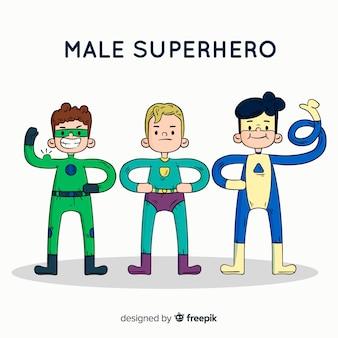 Mão moderna, desenhado, superhero, personagem, cobrança