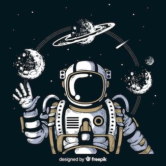 Mão moderna desenhados personagem de astronauta