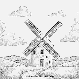 Mão moinho de vento desenhada